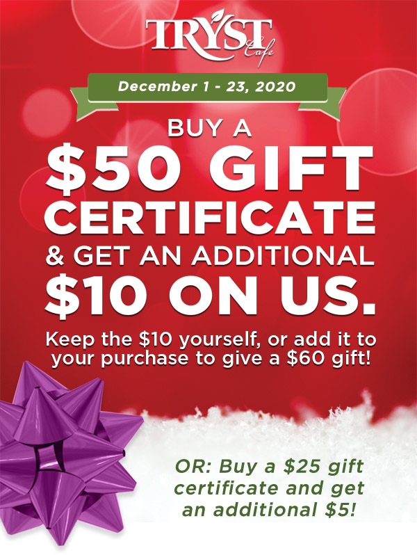 Tryst Cafe gift certificates