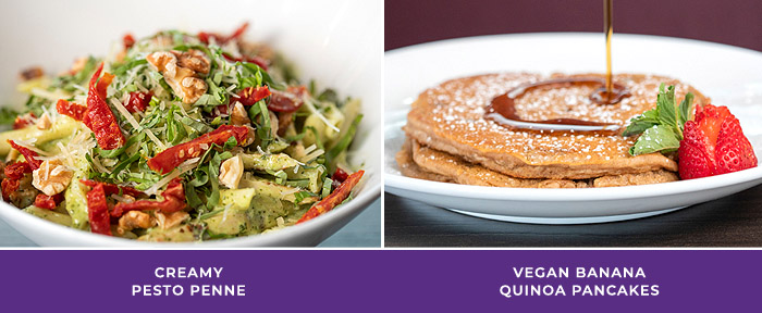 Tryst Cafe Entrees: Creamy Pesto Penne, Vegan Banana Quinoa Pancakes