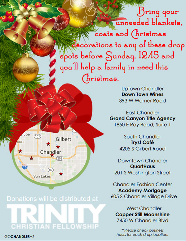Drop off Christmas donations at Tryst Cafe