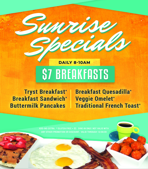 Tryst Cafe breakfast specials