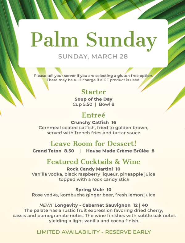 Tryst Cafe Palm Sunday